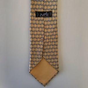 Hermes Paris Yellow Pattern Mens Tie